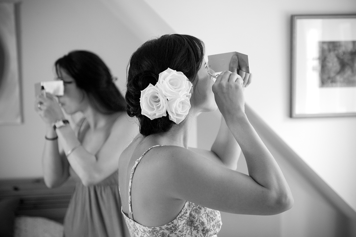 bridal make up Hampshire summer wedding black & white wedding photography