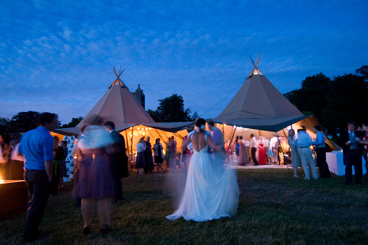 long exposure colour wedding photography Jenny Packham dress tipi church St Mary's Alresford Hampshire