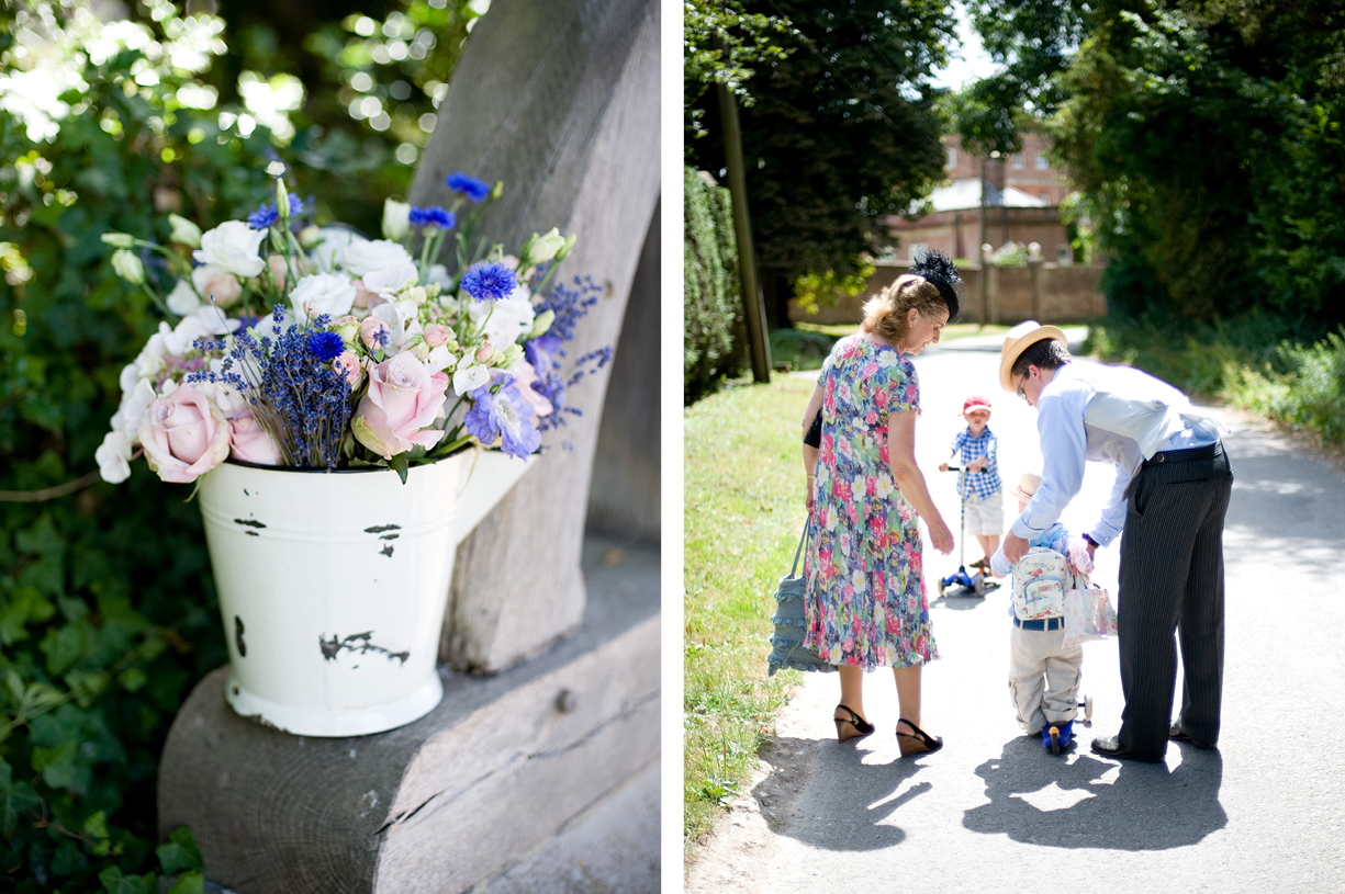 flowers summer wedding Hampshire going to church sunshine Alresford