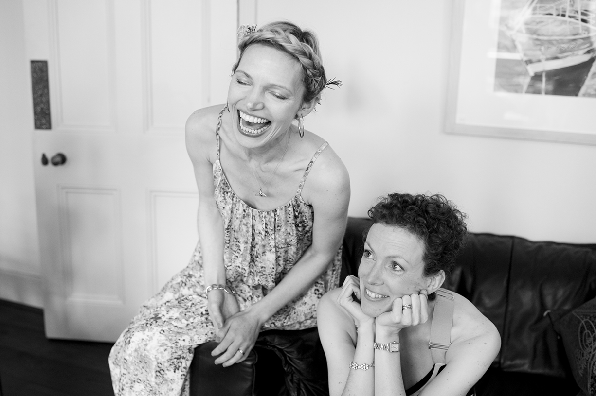 bridesmaids laughing preparations black & white wedding photography London spring wedding
