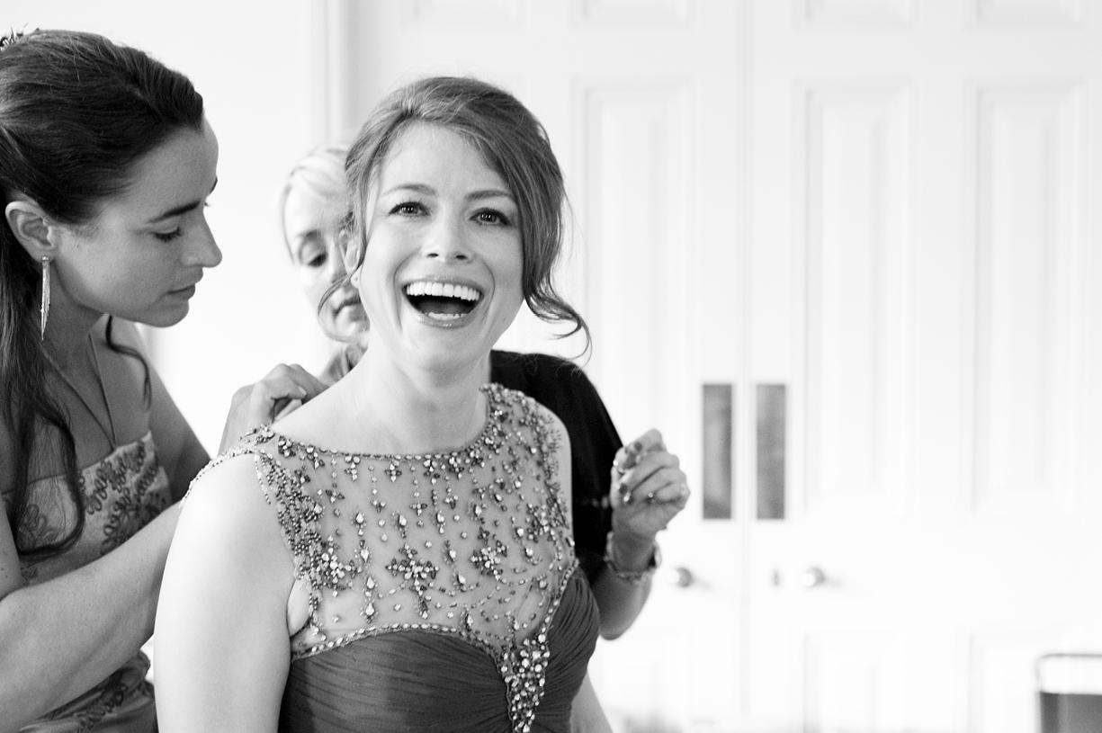 beautiful bride laughing vintage Jenny Packham preparations London spring wedding Battersea