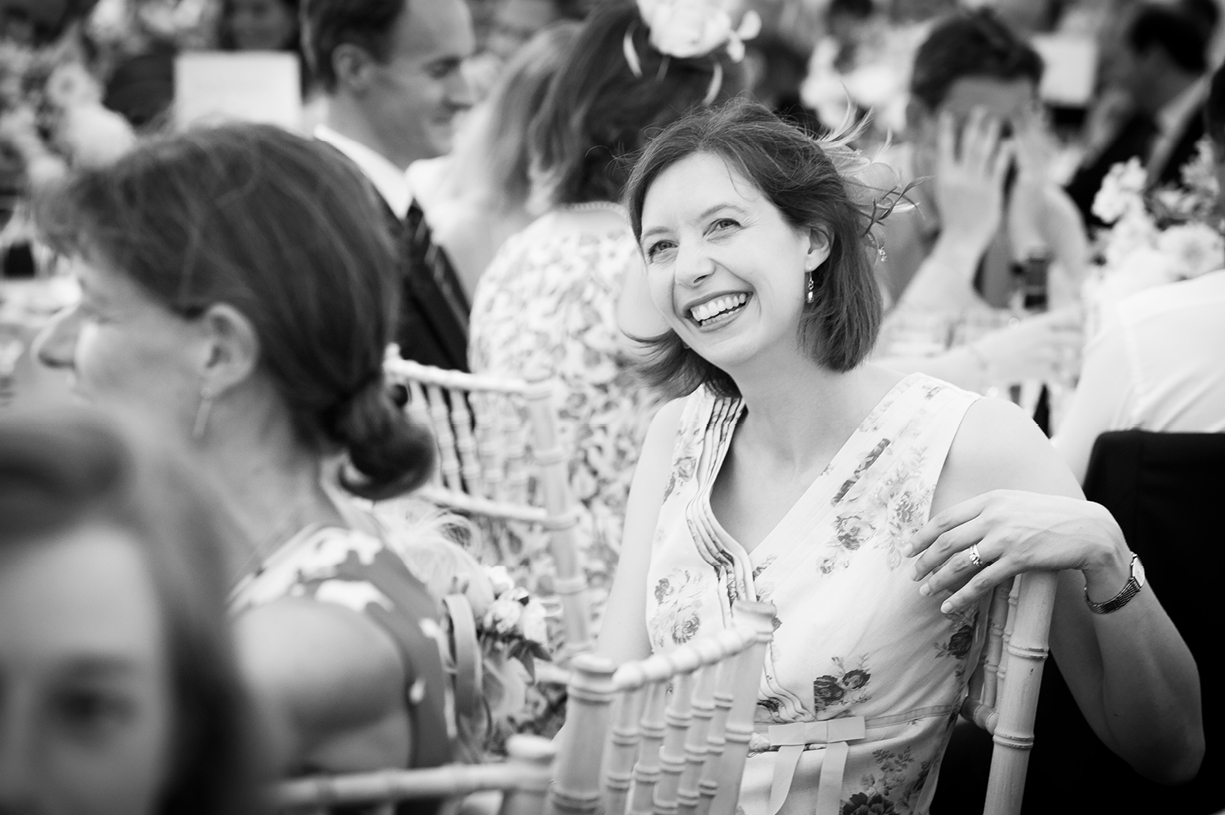 smiling guest speeches black & white wedding photography summer Ovington Hampshire