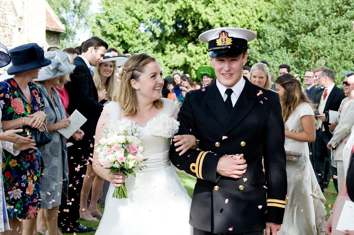 Philippa Lepley wedding dress bride & groom naval uniform leave church confetti wedding photography Braintree Essex