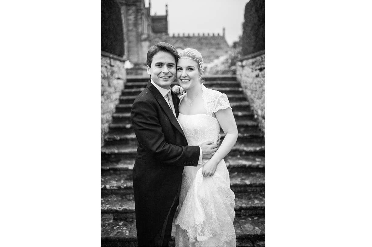 couple portrait black & white rainy wedding Buckhurst Park East Sussex wedding photography English & Greek
