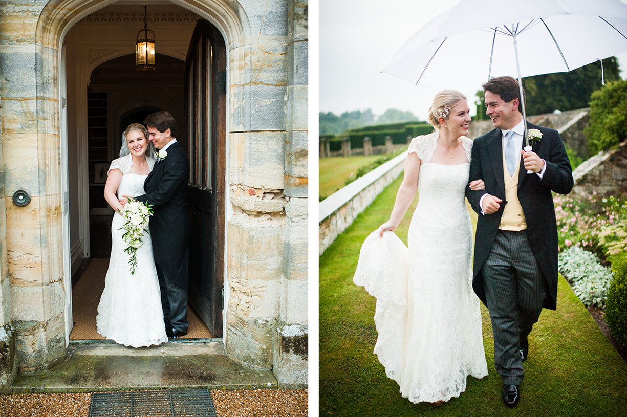 couple portraits rainy wedding Buckhurst Park East Sussex wedding photography English & Greek