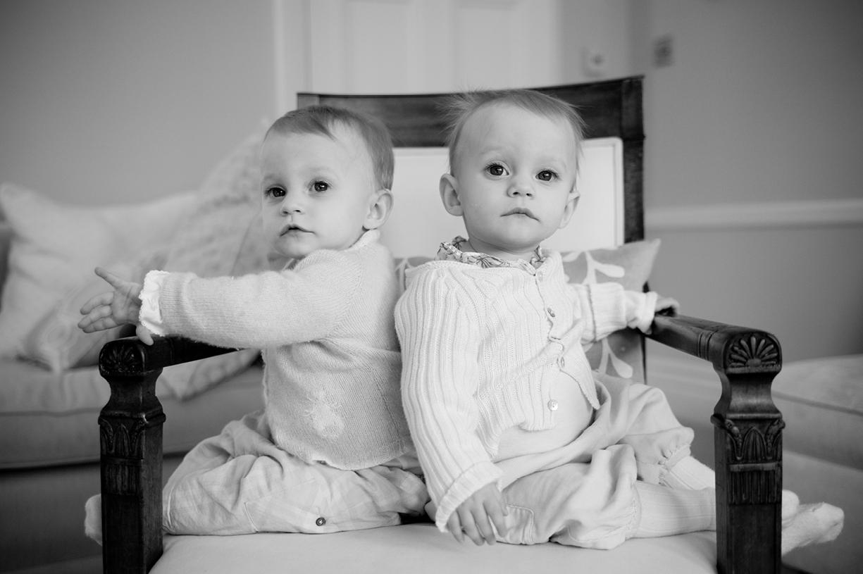black & white portrait twins, South London