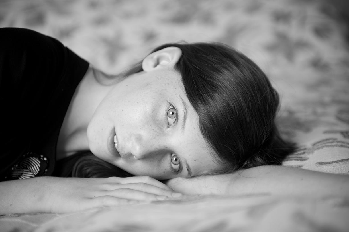 black & white portrait young girl London