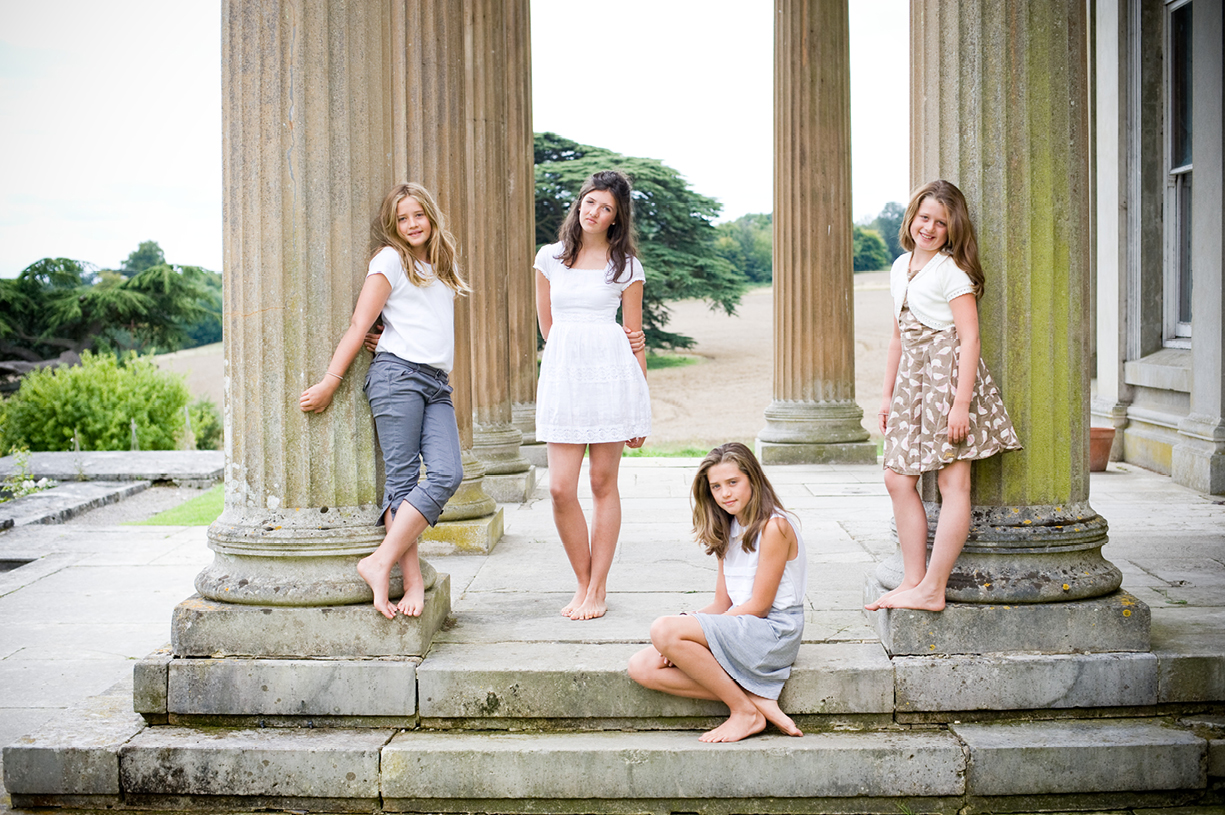 family of four girls, formal colour portrait, The Grange, Northington Hampshire in summer