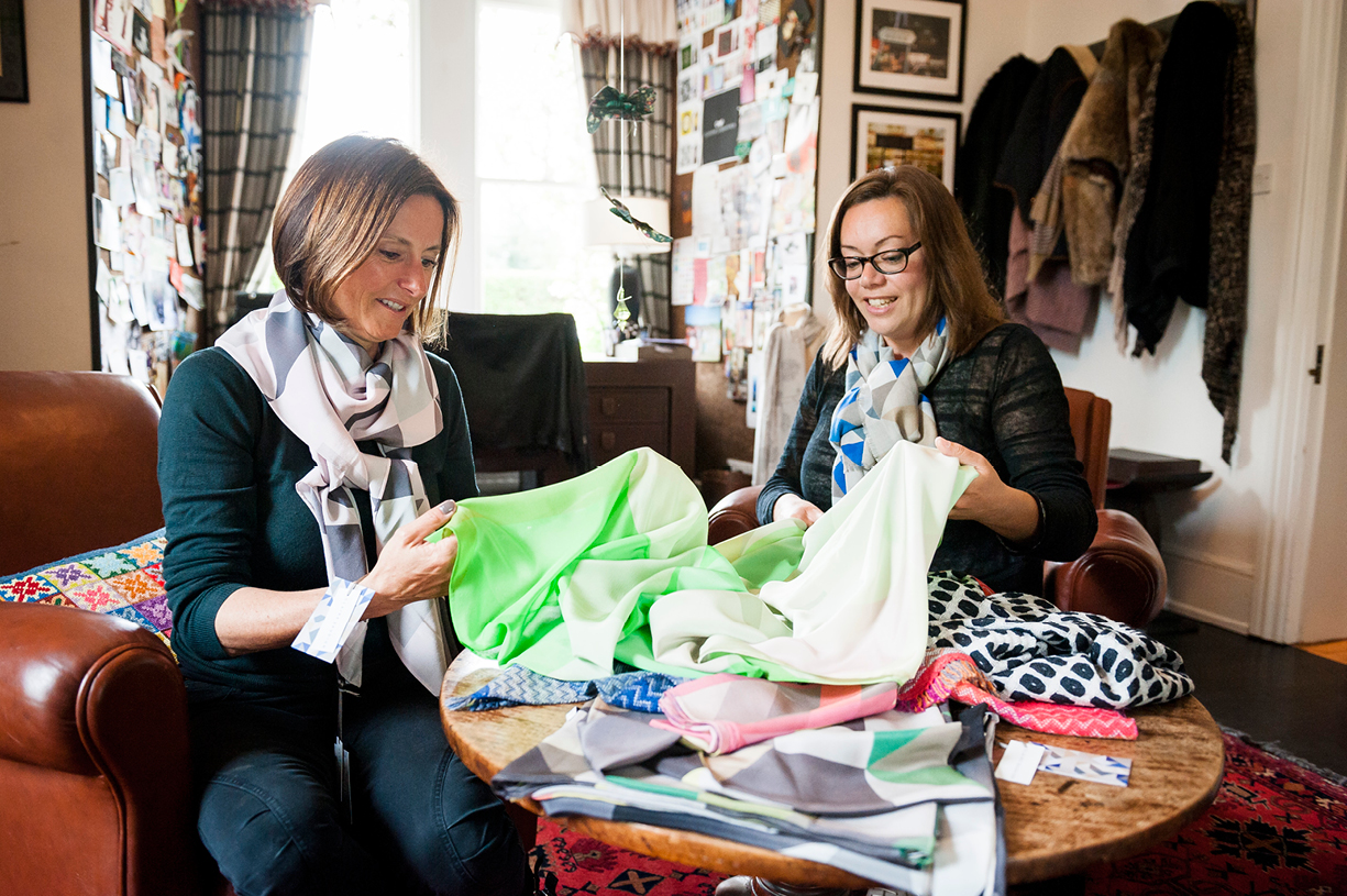 cleverlywrapped.com CEO Harriet Cleverly discusses silk scarf design with Claire Gaudion designer Steventon Hampshire