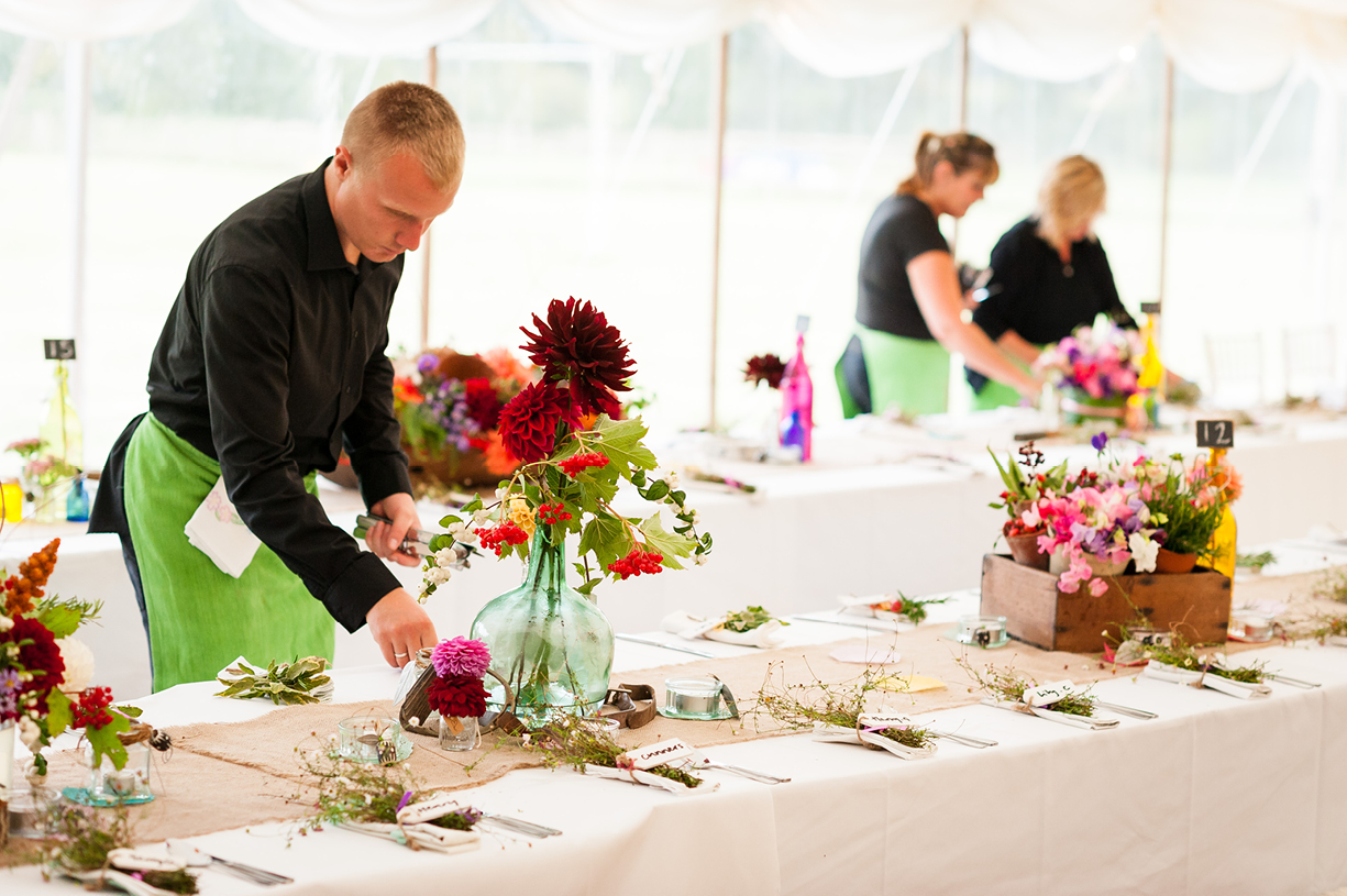black & white & colour event photography Jules Hosford flowers Dorset 21st birthday party