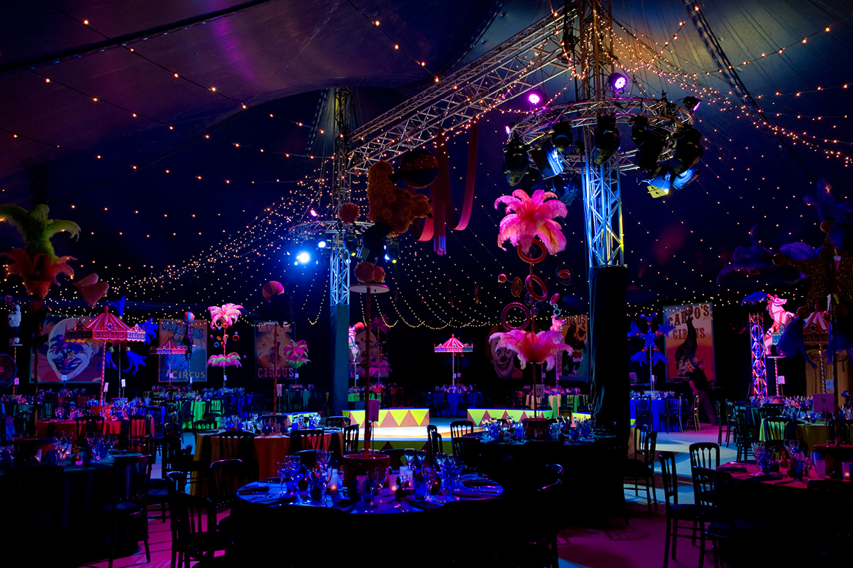 70th birthday party circus big top carousel Mange 2 Catering Georgie Webb CEO Preston Candover Hampshire