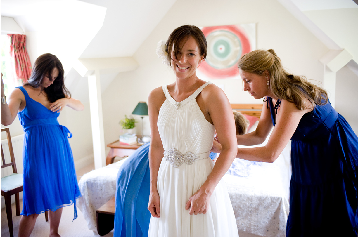 Jenny Packham Miss Bush Bridal summer wedding Alresford Hampshire bride preparations