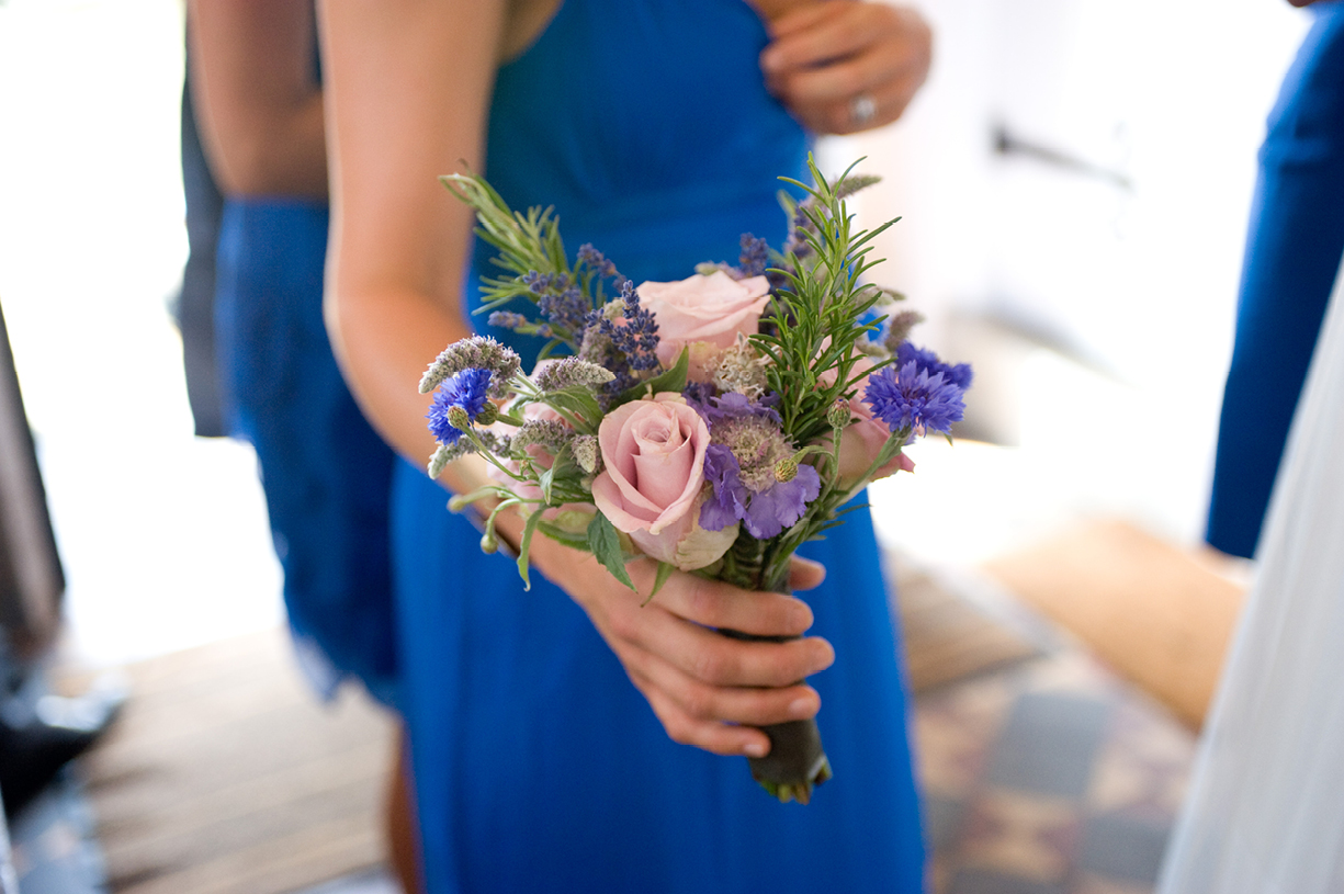 floral bouquet bridesmaid blue Hampshire summer wedding