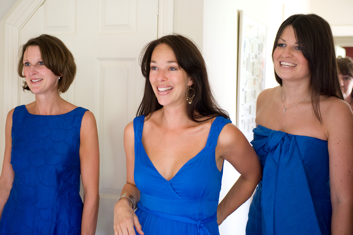 bridesmaids in blue summer wedding Alresford Hampshire wedding photography