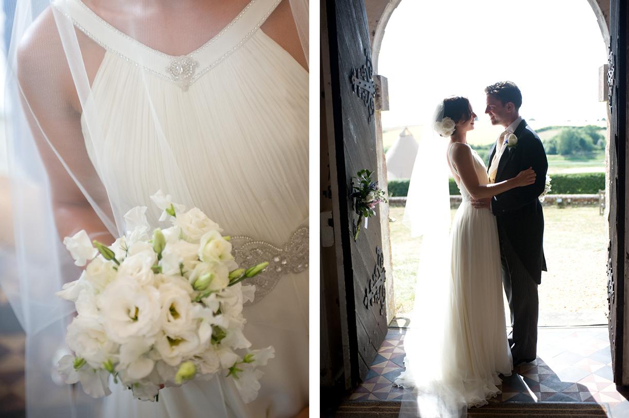 sweet peas wedding bouquet bride & groom silhouetted in church doorway summer wedding photography Hampshire