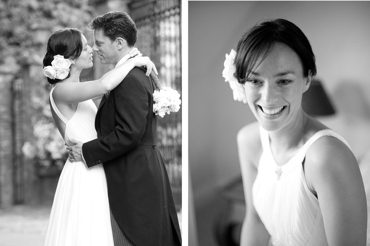bride & groom black & white wedding photography St Mary's Alresford Hampshire