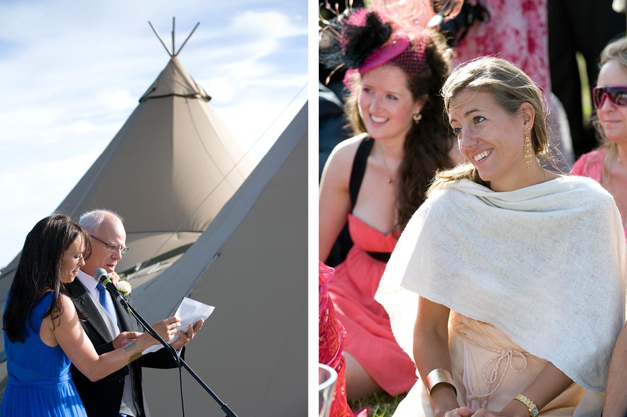 tipi wedding Alresford Hampshire photography listening to speeches