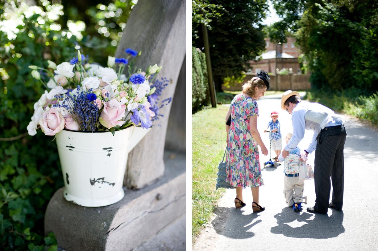 flowers summer wedding Hampshire going to church sunshine Alresford