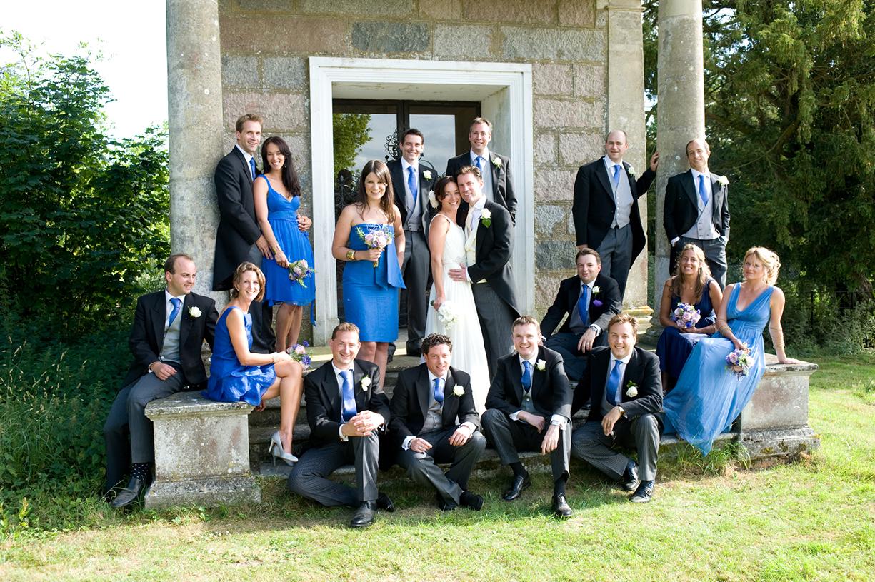 formal group portrait bridesmaids attendants summer wedding Alresford Hampshire