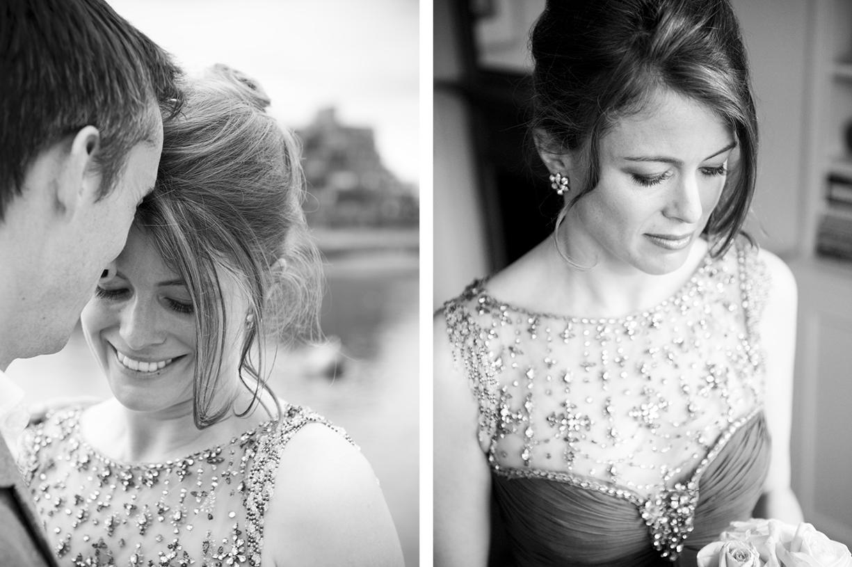 black & white wedding photography, London vintage Jenny Packham, couple Battersea