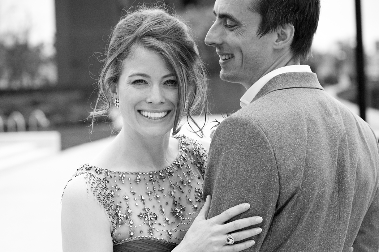 Jenny Packham London wedding spring Thames riverside Battersea Power Station black & white wedding photography