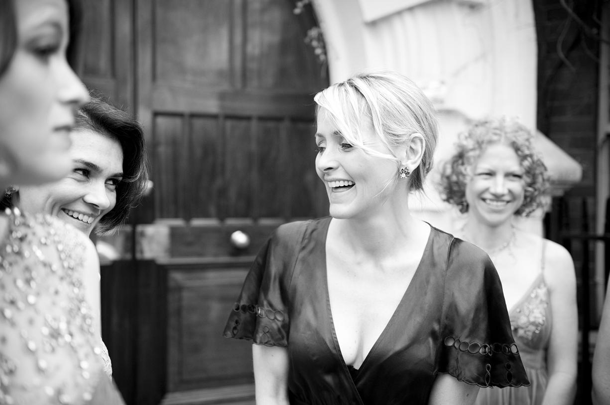 laughing bridesmaids London spring wedding vintage Jenny Packham