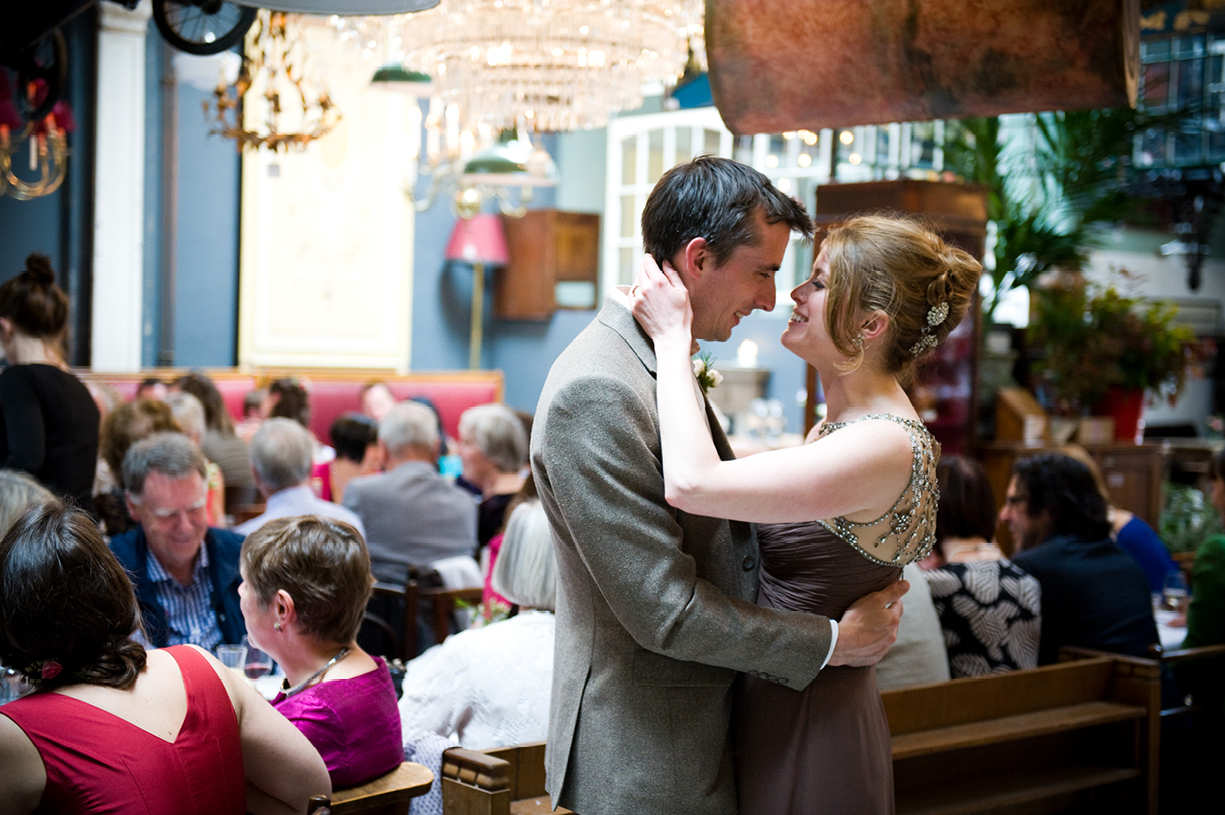 bride & groom embracing, LASSCO, Spring wedding London Battersea Jenny Packham vintage