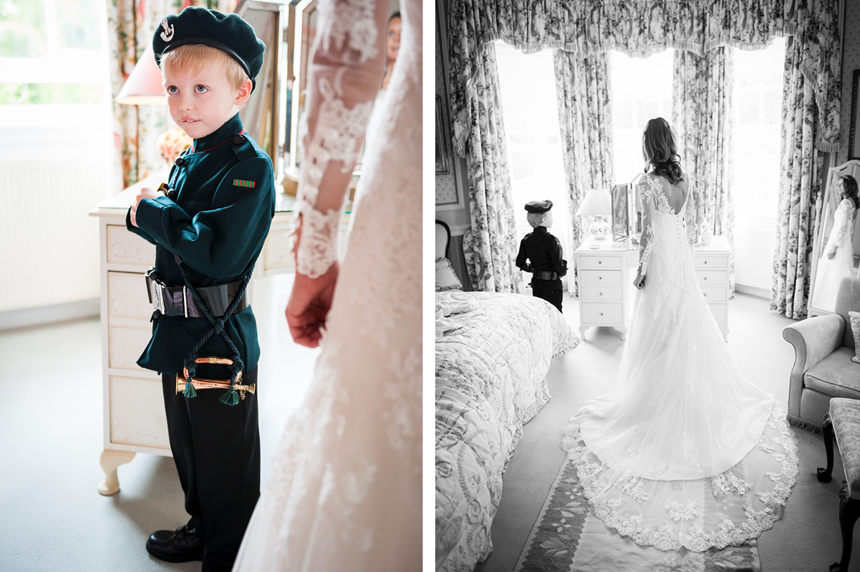 boy in miniature Green Jackets uniform summer wedding photography Ovington Hampshire Philippa Lepley