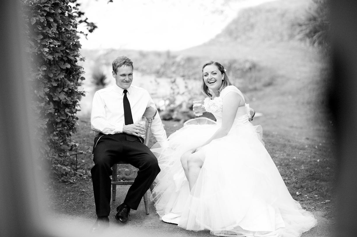 Philippa Lepley wedding dress bride & groom take a break black & white wedding photography summer wedding photography Braintree Essex