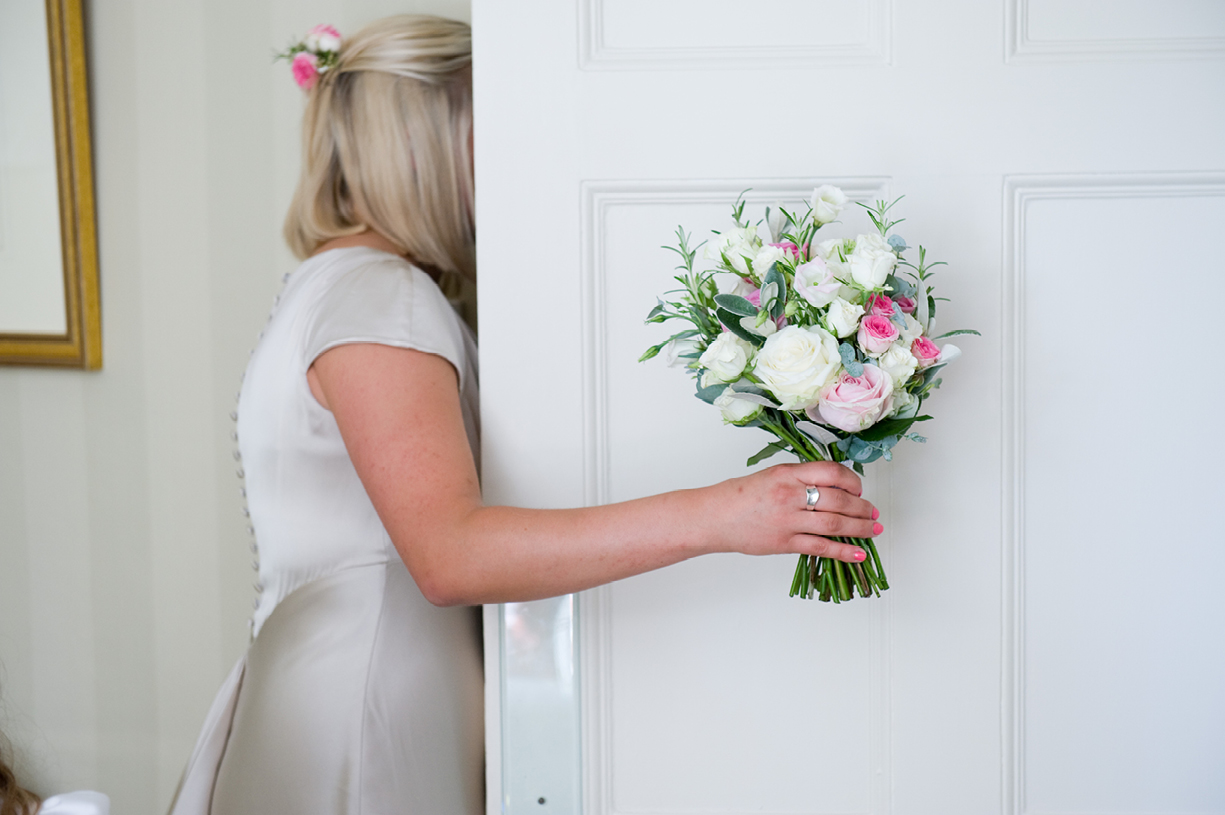 floral bouquet bridesmaid hot sunny wedding Braintree Essex