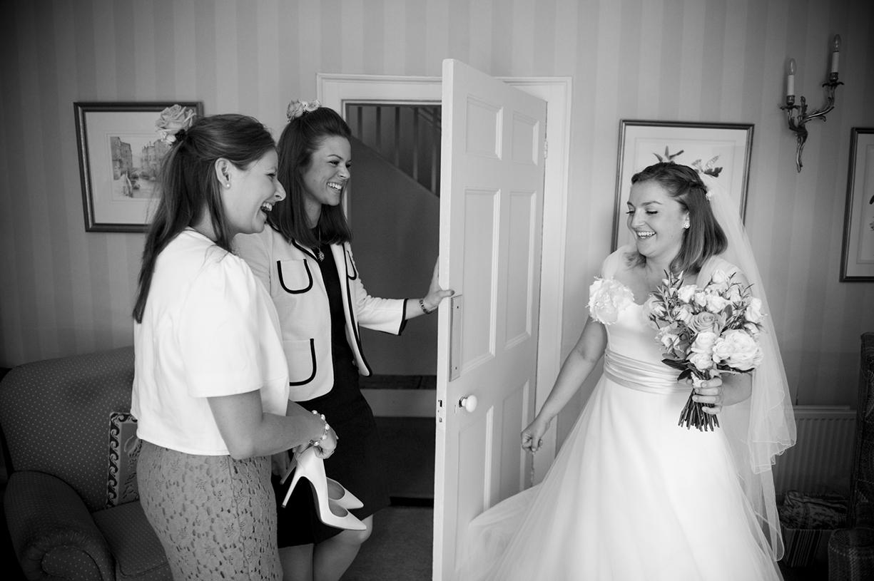 Philippa Lepley wedding dress bride and bridesmaids black & white wedding photography Braintree Essex