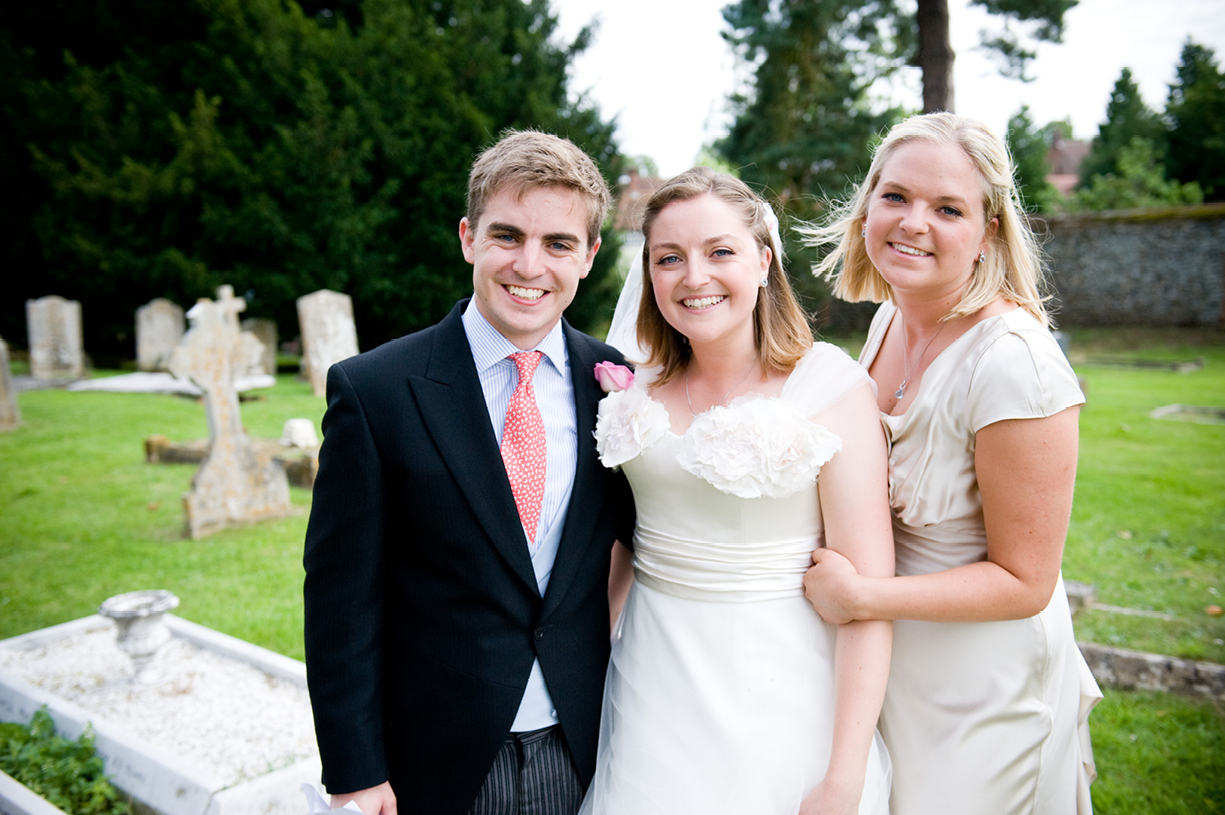 Philippa Lepley wedding dress bride and siblings before ceremony hot summer wedding photography Braintree Essex