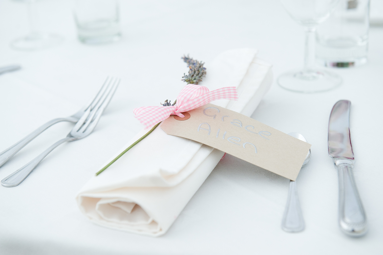 table details with lavender ribbon summer wedding photography Braintree Essex