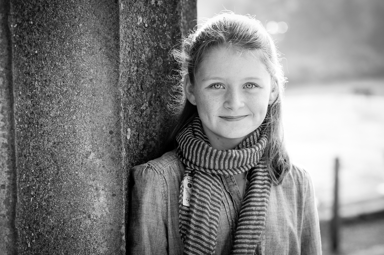 black & white & colour natural light portrait location older children teenager photography London, Hampshire, South England