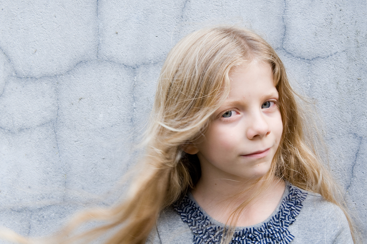 long haired young girl's portrait photo