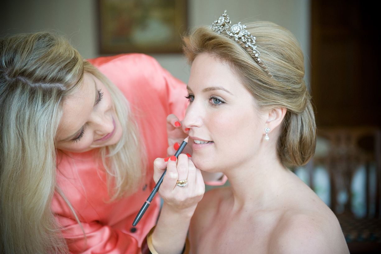 make up for bride with tiara colour wedding portrait Munden Estates Hertfordshire