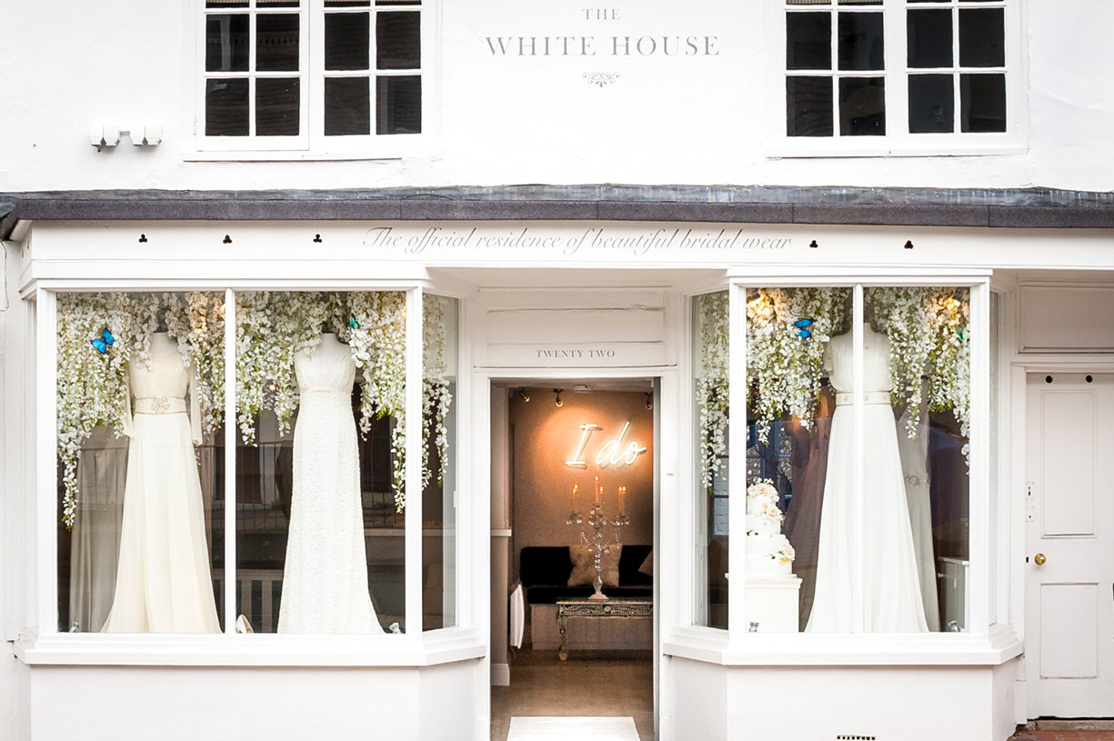 black & white & colour commercial photography White House wedding boutique Alresford Hampshire Ritva Westenius